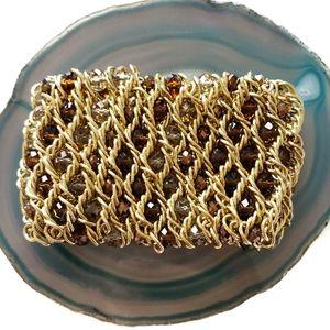 stretch gold cuff statement crystal bead bracelet